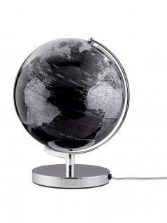 Moderner Leuchtglobus / Weltkugel, aus Metall, silber und Kunststoff, Ø 24 x H...
