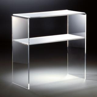 Hochwertiges Acryl-Glas Standregal, Konsole mit 2 Fächern, 70 x 30 cm, H 70 c...