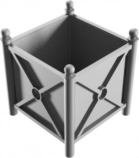 Pflanzbehälter mit seitlichen Stahlblechen mit Zierprofilen und Bodenblech, f...