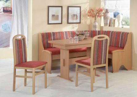 Truhen-Eckbankgruppe, Buche natur Dekor; Eckbank, 2 Stühle und Tisch mit Ausz...