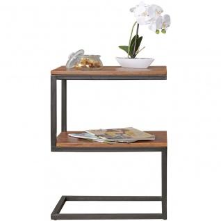 Beistelltisch S-Form, Massiv-Holz Sheesham/Metall, Design Wohnzimmertisch Lan...