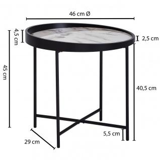 Design Beistelltisch Rund, Ø 46 cm, Marmor Optik Weiß, Anstelltisch, Metallbei... - Vorschau 5