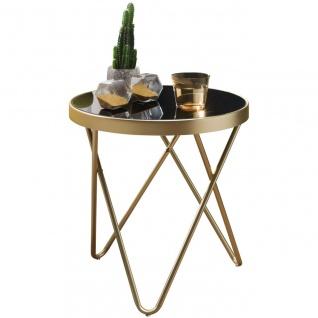 Design Beistelltisch, Couchtisch Rund Schwarz/Matt Gold, Designer Glas-Wohnzi...