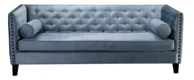 Sofa, 3-Sitzer, Bezug aus Stoff, grau-blau, mit 2 Kissenrollen, B215 x T80 x ...