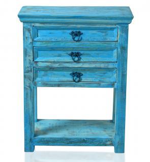 """Telefontisch / Beistelltisch, """" Washed Look"""", Altholz, blau, B60 x T32 x H79 cm"""