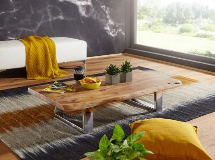 Design Couchtisch 115x25x58 cm, Akazie Massivholz, Metallgestell, Baumstamm-O...
