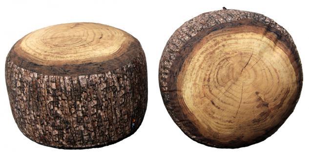 MeroWings Forest Stump Sitzkissen, Pouf, Ø 60 cm, Höhe 35 cm, mit originalget...