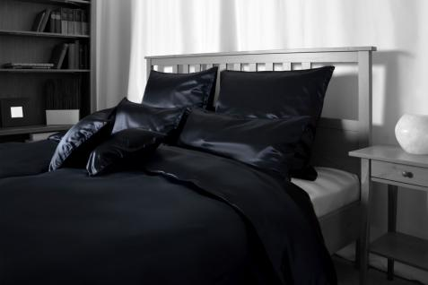 Seiden-Bettwäsche, schwarz, elegeanter Luxus-Seiden-Bettbezug, hochwertig gen...