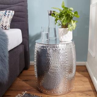 Design Beistelltisch 42x49x42cm, Aluminium Dekotisch, Orientalisch rund, Klei...