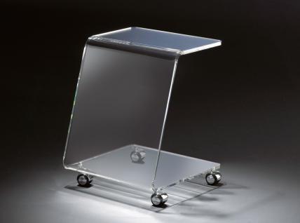 Hochwertiger Acryl-Glas Beistelltisch mit Chromrollen, klar, 37 x 37 cm, H 48...