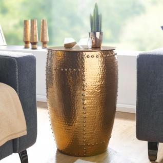Design Beistelltisch 41, 5x62x41, 5cm, Aluminium Gold, Dekotisch Orientalisch r...