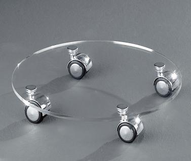 Hochwertiger Acryl-Glas Blumenrolli mit 4 Chromollen, klar, Ø 35 cm, Acryl-Gl...
