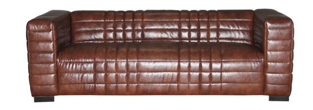 Sofa, 3-Sitzer, Bezug aus Kunstleder, braun, gesteppt, B220 x T91 x H66 cm