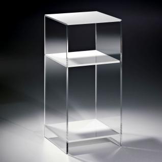 Hochwertiges Acryl-Glas Standregal, Konsole mit 2 Fächern, Regalböden weiß, S...