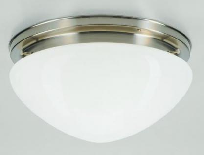 Deckenleuchte / Plafonnier, Messing Nickel matt, Glas weiß glänzend, Höhe 17 ...
