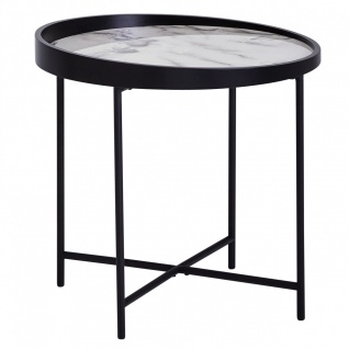 Design Beistelltisch Rund, Ø 46 cm, Marmor Optik Weiß, Anstelltisch, Metallbei...