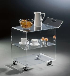 Hochwertiger Acryl-Glas Servierwagen / Teewagen mit 4 Chromrollen, klar, 63 x...