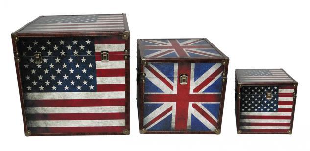 Kisten / Truhen verschließbar, 3-teiliges Set, Motive Union Jack und Star-Spa...