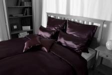 Seiden-Bettwäsche, braun, elegeanter Luxus-Seiden-Bettbezug, hochwertig genäh...