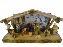 """Weihnachtskrippe / Stall """" Allgäu"""", aus Holz handgefertigt in Deutschland, dek..."""