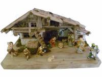 """Weihnachtskrippe / Stall """" Mittenwald"""", aus Holz handgefertigt in Deutschland,..."""