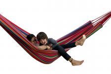 Kinder-Hängematte aus Baumwolle, für 1-2 Personen, L230 x B160 cm, Belastbark...