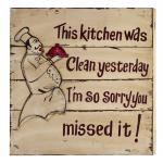 """Wand-/Dekoschild / Wall Art """" Kitchen"""", aus MDF, im Vintage-Look, B50 x H50 x ..."""