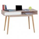 Stilvoller Schreibtisch / Bürotisch, Sonoma Eiche / weiß, mit Schublade und A...