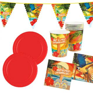 Sommer Party Deko Set Hawaii Beach Ara 25 Teile: Teller Becher Servietten Wimpel