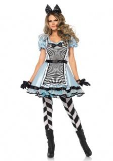 Alice im Wunderland Kostüm Damen Alice-Kleid Herz Märchen Damenkostüm Fasching K