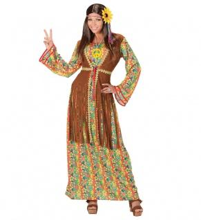 Kostüm Damen Hippie lang Flower Power 60er 70er Jahre Retro Girl Karneval KK