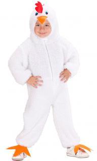 Karneval Klamotten Kostüm Hühnchen weiß mit Kopf Junge Mädchen Tier Kinderkostüm