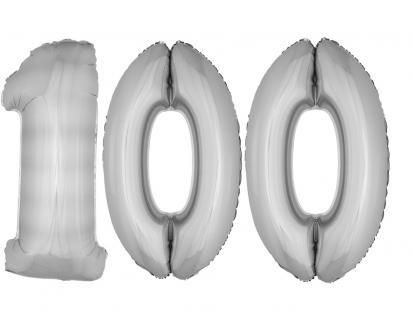 Folienballons Luftballon-SetXXL Zahl Geburtstag 100Jahre silber Party Dekoration
