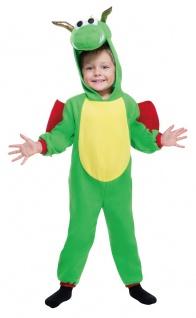 Drache Kostüm Baby grün aus Fleece Stoff Drachenkostüm Kinder Karneval Fasching