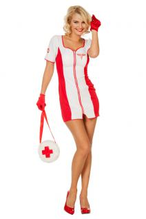 Karneval Klamotten Kostüm Krankenschwester Maggie Dame Karneval Damenkostüm