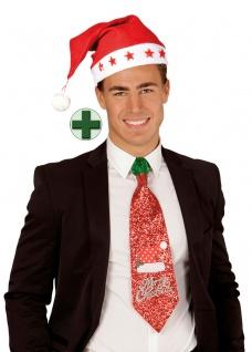 witzige Krawatte Weihnachten Weihnachtskrawatte glitzer Weihnachtsmannmütze KK