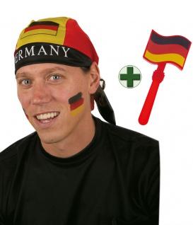 Klapperhand Deutschland mit Kopftuch schwarz rot gold Fan WM Frauen Fußball 2019