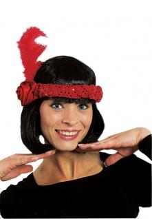 Charleston Kopfschmuck Charleston Haarschmuck mit Feder rot 20er 30er Karneval K