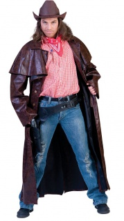 Kostüm Cowboy Herren Westernkostüm Cowboymantel braun Western Karneval KK