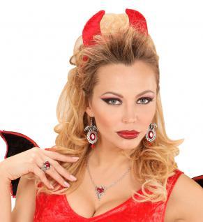 Kette Teufel Teufelin Halskette und Ohrringe Teufel-in Halloween Karneval KK