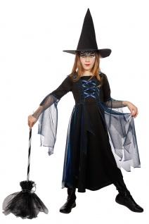 Prinzessin Hexenkostüm Kinder blau schwarz Hexenkleid Hexenhut Halloweenkostüm