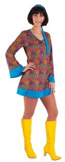 Hippie-Kostüm Kleid Damen Flower Power 60er 70er Jahre Retro Damenkostüm KK