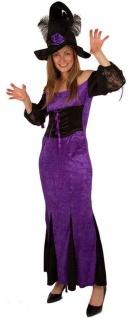 Hexenkostüm-e Damen Lila schwarz Halloween Kleid Hexe KK