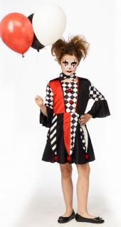 Pierrot Kostüm Mädchen Clown schwarz weiß rot KK