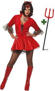 Teufel Kostüm Damen sexy Teufelin mit Teufelsgabel Halloween Teufel Damenkostum