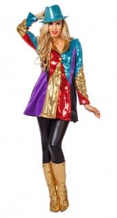 Pailletten Frack Damen Kostüm Karneval Jacke Garde bunt Fasching KK