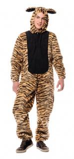 Tiger Kostüm Herren Plüsch Overall mit Kapuze Tierkostüm Karneval Fasching KK