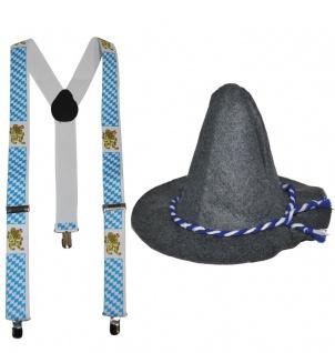 Seppl Hut Trachten Hut Bayern Hut Tiroler Hut Oktoberfest Hut INKL Hosenträger K