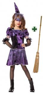 Hexenkostüm Kinder Mädchen Spinnenhexe Halloweenkostüm MIT Hexenhut Hexenbesen