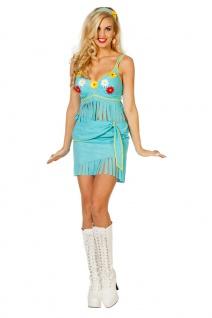 Hippie Kostüm sexy Rock Oberteil Damen türkis Flower Power 60er 70er Jahre KK